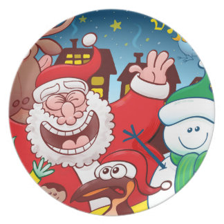 Santa Claus and his team are ready for Christmas Plate