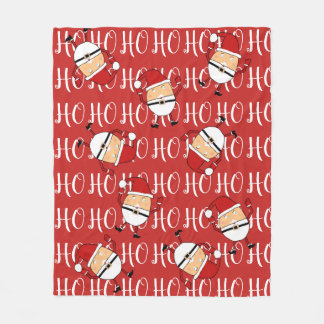 Santa Claus And Ho Ho Ho Christmas Pattern Fleece Blanket