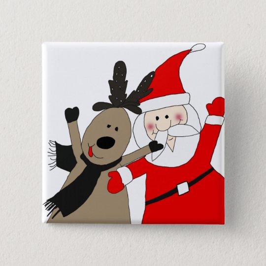Santa Claus and Jolly Reindeer 15 Cm Square Badge