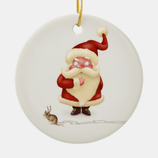 Santa Claus and Mouse reindeer Round Ceramic Decoration
