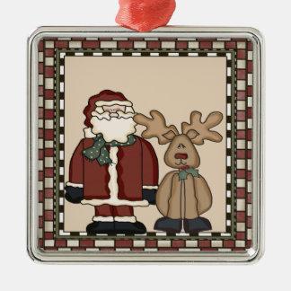 Santa Claus and Reindeer Christmas Ornament