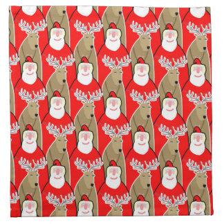 Santa Claus And Reindeer Design Napkin