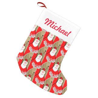 Santa Claus And Reindeer Design Small Christmas Stocking