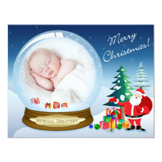 "Santa Claus and Snow Globe Christmas Photo Card 4.25"" X 5.5"" Invitation Card"