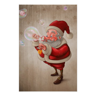 Santa Claus and the bubbles soap Poster