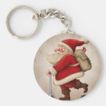 Santa Claus and the Push scooter Basic Round Button Key Ring