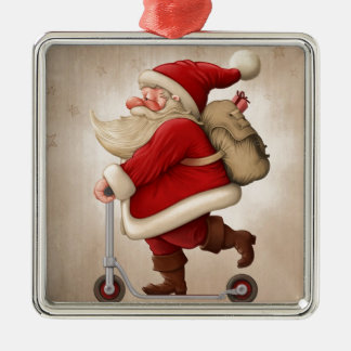 Santa Claus and the Push scooter Christmas Ornament