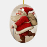 Santa Claus and the Push scooter Ceramic Oval Decoration