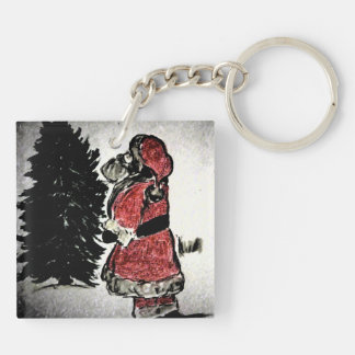 Santa Claus and Tree Double-Sided Square Acrylic Key Ring