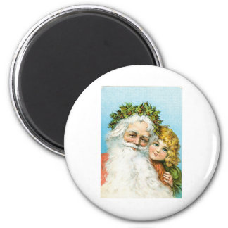 Santa Claus and young girl Refrigerator Magnets