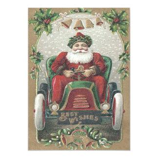 Santa Claus Automobile Car Holly Bells 13 Cm X 18 Cm Invitation Card