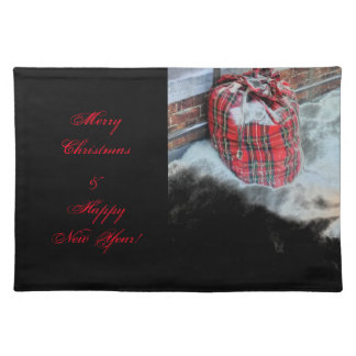 Santa Claus Bag in snow Place Mats