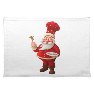 Santa Claus Bakes Gingerbread Men Cloth Placemat