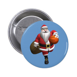 Santa Claus Basketball Player 6 Cm Round Badge