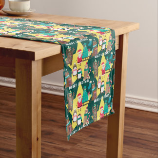 Santa Claus Bears Gold Star Pattern Christmas Short Table Runner