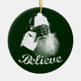 Santa Claus Believe Red & Green Christmas Ornament