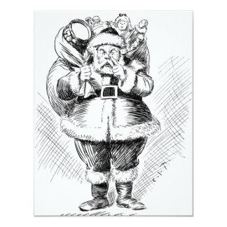 Santa Claus Black and White Illustration 11 Cm X 14 Cm Invitation Card
