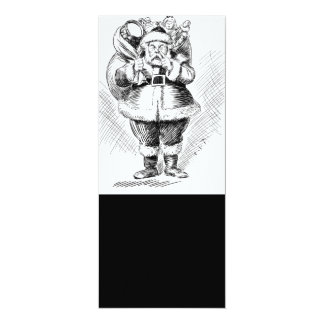 "Santa Claus Black and White Illustration 4"" X 9.25"" Invitation Card"