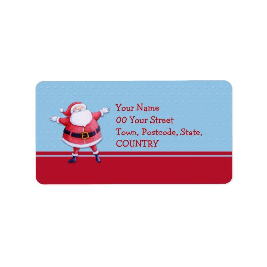 Santa Claus blue Address Label