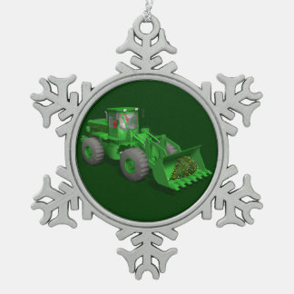 Santa Claus Bulldozer Operator Pewter Snowflake Decoration