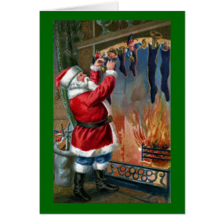 Santa Claus Busy Filling Stockings Cards