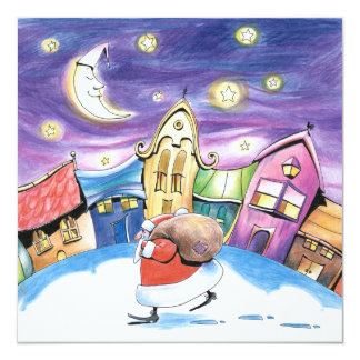 "Santa Claus Card 5.25"" Square Invitation Card"