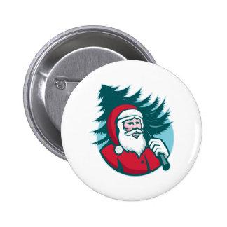 Santa Claus Carrying Christmas Tree Retro 6 Cm Round Badge