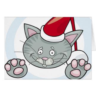 Santa claus cat greeting card