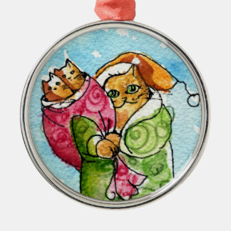 Santa Claus Cat & Kittens Silver-Colored Round Decoration