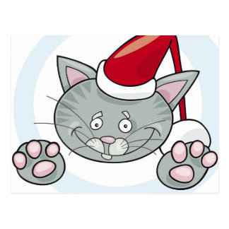 Santa claus cat postcard