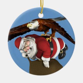 Santa Claus Caught By Bald Eagle Round Ceramic Decoration