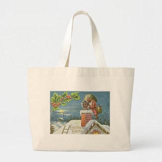 Santa Claus Chimney Presents Church Holly Jumbo Tote Bag