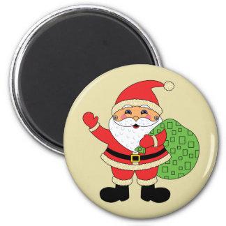 Santa Claus Christmas 6 Cm Round Magnet