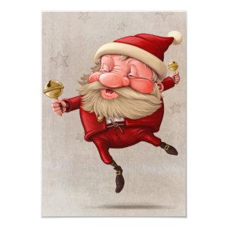 Santa Claus Christmas bells dancing 9 Cm X 13 Cm Invitation Card