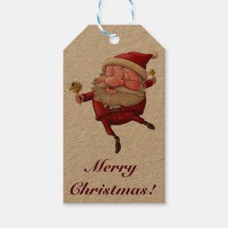 Santa Claus Christmas bells dancing Gift Tags