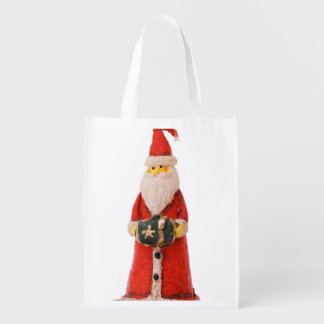 Santa Claus Christmas candle decoration Grocery Bags