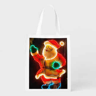 Santa Claus Christmas decoration with lights Reusable Grocery Bags