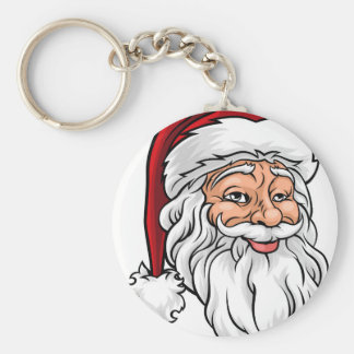 Santa Claus Christmas Illustration Basic Round Button Key Ring