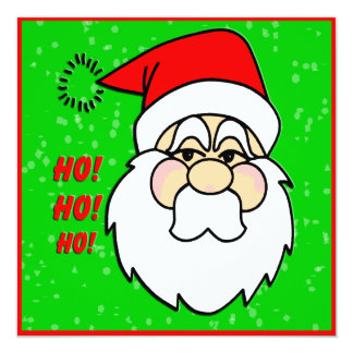 "Santa Claus Christmas Invitation 5.25"" Square Invitation Card"