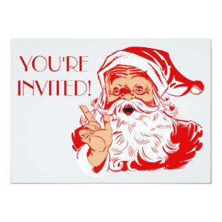 "Santa Claus Christmas Party 2014 Invitations 4.5"" X 6.25"" Invitation Card"