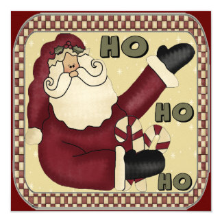 "Santa Claus Christmas Party Invitations 5.25"" Square Invitation Card"