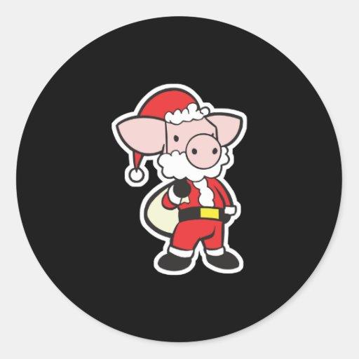 santa claus christmas pig round sticker
