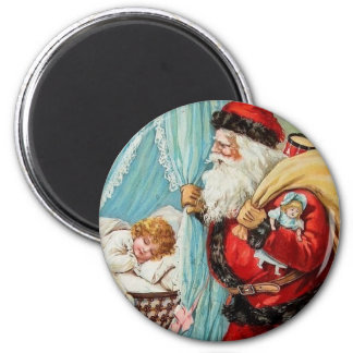 Santa Claus Christmas Sleeping Child Vintage 6 Cm Round Magnet