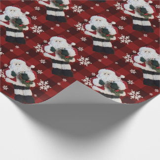 Santa Claus Christmas Snowflakes Red Buffalo Plaid Wrapping Paper
