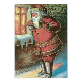 Santa Claus Christmas Tree Ornament Window 13 Cm X 18 Cm Invitation Card