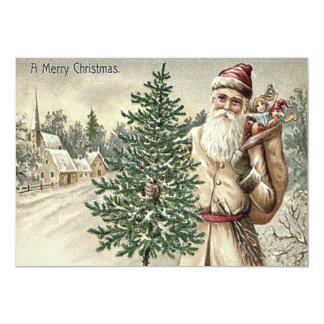 Santa Claus Christmas Tree Sack of Toys Church 13 Cm X 18 Cm Invitation Card