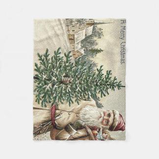Santa Claus Christmas Tree Sack of Toys Church Fleece Blanket