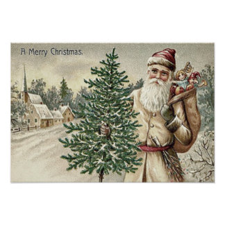 Santa Claus Christmas Tree Sack of Toys Church Poster
