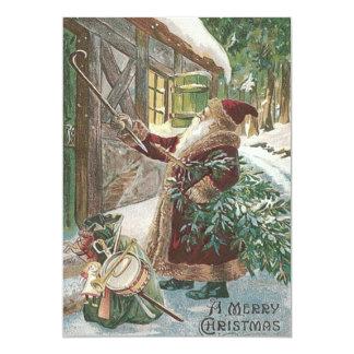 Santa Claus Christmas Tree Sack of Toys Cottage 13 Cm X 18 Cm Invitation Card