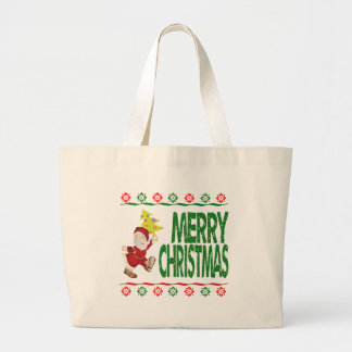 Santa Claus Christmas Tree Ugly Xmas Sweater Tote Bags